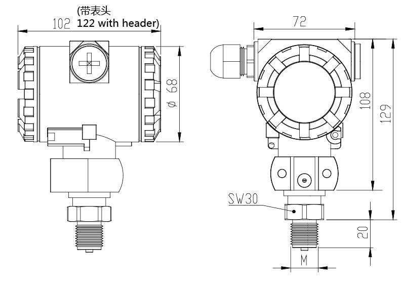 PST-C压力变送器尺寸图